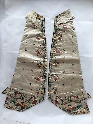 Antique embroidered silk waistcoat panels, gent's, 18th C / Georgian / Regency