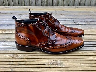 Jeffery West For M&S Leather Brogue Boots Size 8.5 VGC