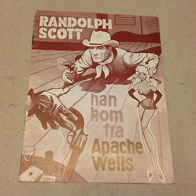 """A Lawless Street"" Randolph Scott Lansbury 1955 Danish Original Movie Program"