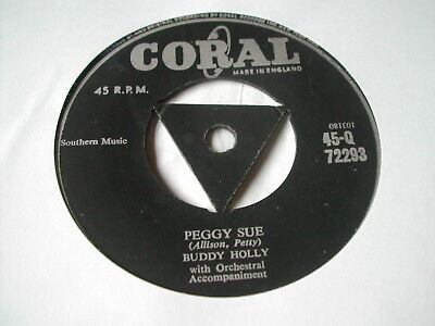 "Buddy Holly - Peggy Sue  - Coral 7"" Tri Centre"