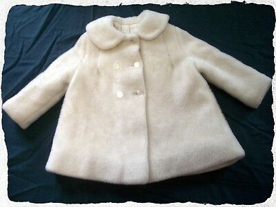 Vintage Little Girl's White Fur Coat Size 5 Union Made USA