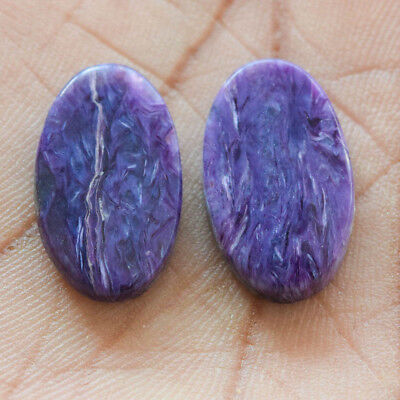 21.15Cts 100% Natural Charoite Pair Oval 22X13 Cabochon Loose Gemstone