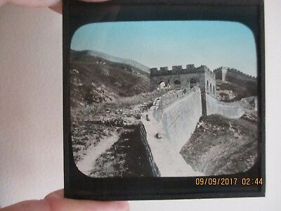 Atq Magic Lantern Glass Slide China Great Wall 8