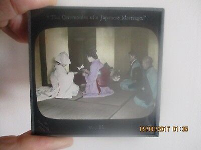 Atq Magic Lantern Glass Slide Ceremonies of Japanese Marriage Japan Takagi Tobe