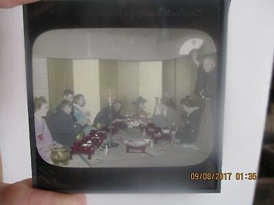 Atq Magic Lantern Glass Slide Ceremonies Japanese Marriage Japan Takagi Tobe