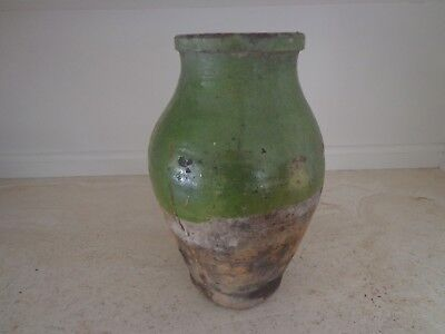 Antique 19Th Century French Terra Confit Pot With Beautiful Green Glaze