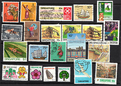 Singapore X 22 Used Collection Stamps.