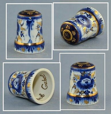 Russian Gzhel Hand Painted Signed Thimble