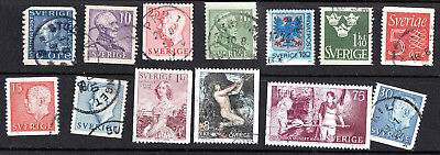 Sweden X 13 Used Stamps.