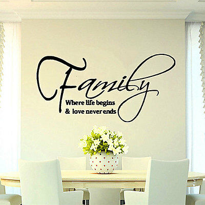 Family Love Quote Removable DIY Art Vinyl Wall Sticker Decal Mural Home Decor SU