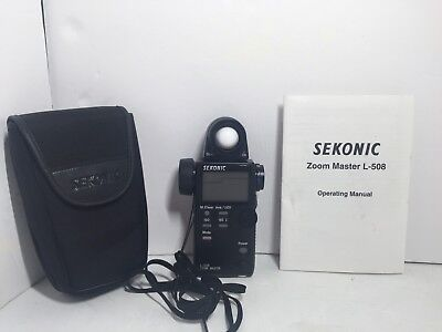NEAR MINT SEKONIC ZOOM MASTER Light Meter L-508 with Case Fast Shipping!