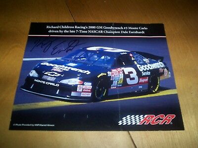 nascar RCR racing photo card dale earnhardt car no 3 signed by kerry earnhardt