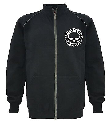(Medium) - Harley-Davidson Men's Track Jacket, Willie G Skull, Black Warm Up