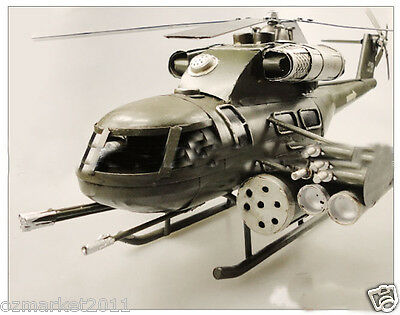 * European Retro Metal Decoration Crafts Helicopter Military Aircraft Model/Toy