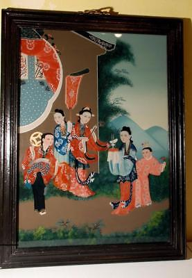 Late 19th or Early 20th Century Chinese Reverse  Painting on Glass of 5 Women