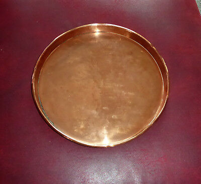 Antique Vintage Copper Round Tray Dish 32Cm Diameter