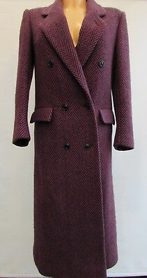 Vintage 1980's C&A Purple Wool Long Box Coat Herringbone Tweed Size 10 8
