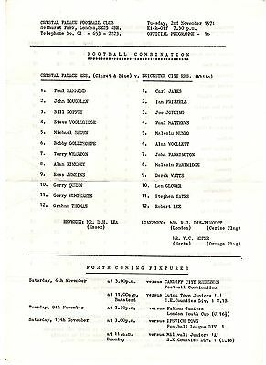Crystal Palace v Leicester City Reserves Programme 2.11.1971