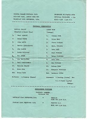 Crystal Palace v Luton Town Reserves Programme 18.9.1974