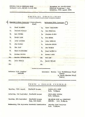 Crystal Palace v Leicester City Reserves Programme 26.8.1972