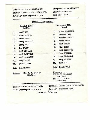 Crystal Palace v Leicester City Reserves Programme 22.9.1979