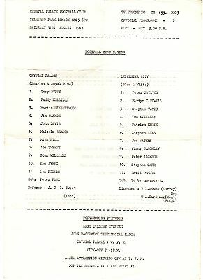 Crystal Palace v Leicester City Reserves Programme 31.8.1974