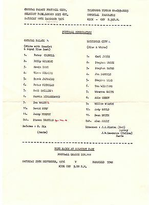 Crystal Palace v Leicester City Reserves Programme 18.9.1976