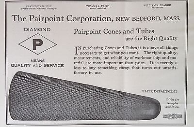 Vintage 1930 Ad(F13)~Pairpoint Corp. New Bedford, Mass. Cones And Tubes Textile