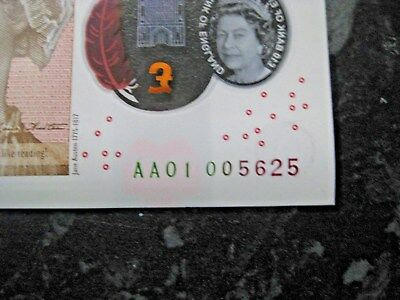 AA01 £10 Ten pound Polymer Note 00 5625 ~ SUPER LOW SERIAL NO.AA 01 ~ Rare - UNC