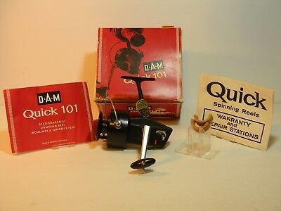 Vintage Dam Quick 101 Spinning Reel With Box Paperwork And Cork Arbors