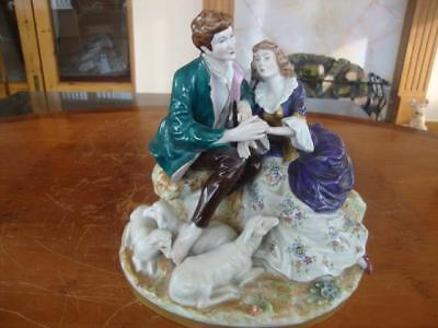 Stunning Antique Dresden Thuringa Porcelain Hand Painted Figure Group. . #2.