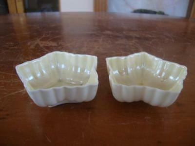 FINE PAIR OF BELLEEK PORCELAIN DISHES . ~ 2nd & 3rd BLACK MARKS.