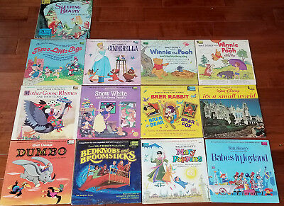 Lot of 26 WALT DISNEY Vintage READ-ALONG BOOKs & RECORDs Vinyl LP Mickey Donald