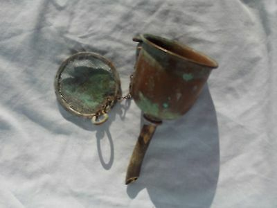 Wine Funnel, old in Copper with attached Strainer