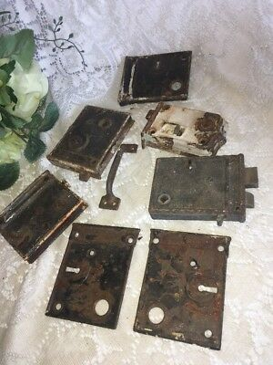 "Lot Antique 4-5"" RIM DOOR LOCK Boxes Turn of the Century Hardware Rare Cast Rust"