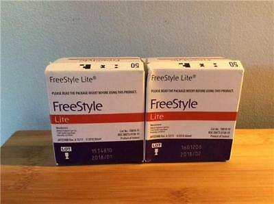 100 New Freestyle Lite Glucose Test Strips Exp: 01/2018 & 02/2018
