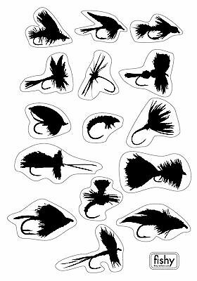 FLY FISHING FLIES - set of 15 fly stickers - DRY FLY NYMPH STREAMER SALMON FLY