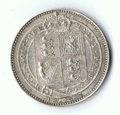 Queen Victoria 1887 Jubilee Head silver shilling - Good collectable coin