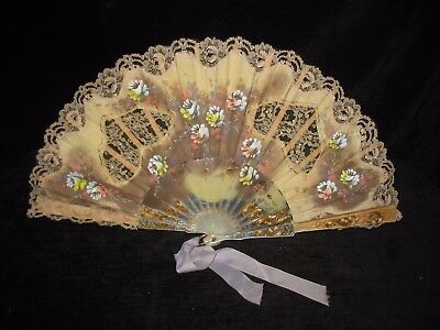 Beautiful Vintage Handpainted Lace And Sequin Fan