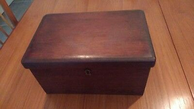 Victorian lockable wooden sewing box with mixed contents