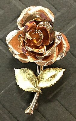 Beautiful Rare Amazing Antique Gold Filled Krementz Blooming Rose Pin Brooch