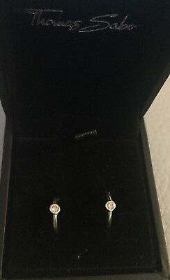 Thomas Sabo Silver & Cz Small Hoop Earings & Original Box Worn Once Lovely Gift