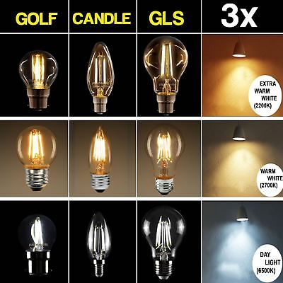Pack of 3 Bulbs Vintage LED Light Bulb Retro Filament Amber/Warm/Day Light