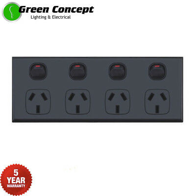NEW Quad Power Point GPO Four 4 Gang Socket Outlet Powerpoint BLACK 5 YR WRNTY