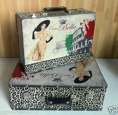 * European Vintage Style Printing Pattern Canvas Travel Suitcase Two Pieces