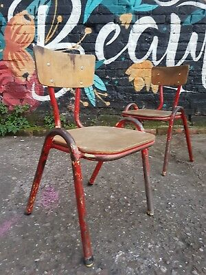 Vintage Industrial Mid Century French Stacking Childrens School Chairs 1950s 60s