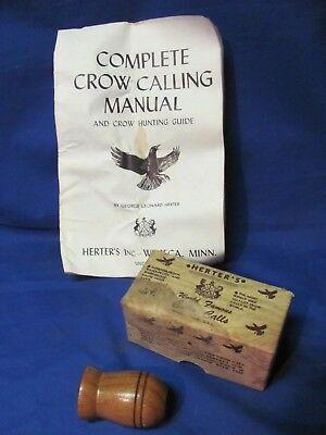 VINTAGE HERTER'S WORLD FAMOUS CROW CALL No. 204 IN BOX W/MANUAL