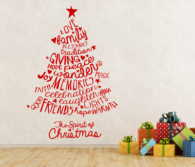 The Spirit of Christmas Word Quote tree windows walls and more decal sticker art