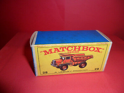 Matchbox 1-75 Series No:28 - Mack Dump Truck Original Empty E Type Box,1960's.
