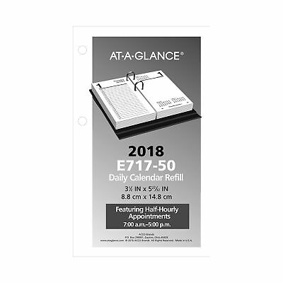 "AT-A-GLANCE Daily Desk Calendar Refill January 2018 - December 2018 3-1/2"" x NEW"
